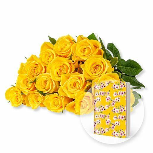 15 gelbe Fairtrade-Rosen und Heft Blüten gelb