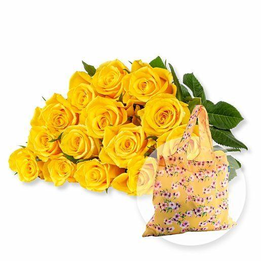 15 gelbe Fairtrade-Rosen und Easy Bag Blüten gelb