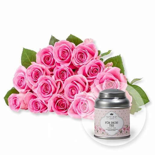 15 rosafarbene Fairtrade-Rosen und Tafelgut Für Dich Tee
