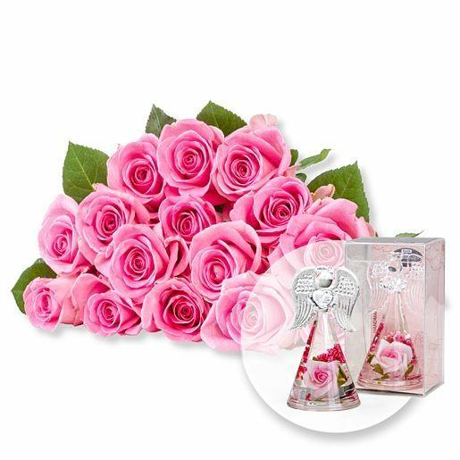 15 rosafarbene Fairtrade-Rosen und Dreamlight Rosen-Engel