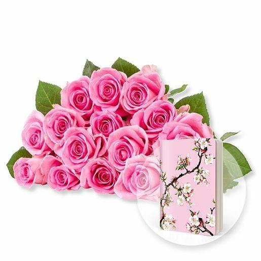 15 rosafarbene Fairtrade-Rosen und Heft Kirschblüte