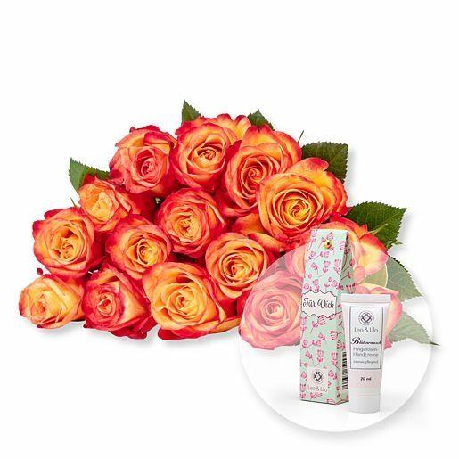 15 gelb-orangefarbene Fairtrade-Rosen und Blütenrausch Pfingstrosen-Handcreme Für Dich
