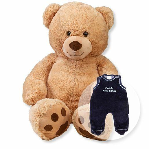 XL-Teddybär Rico und Strampler blau
