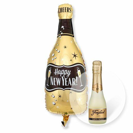 Ballon Happy New Year Bottle und Freixenet Semi Seco