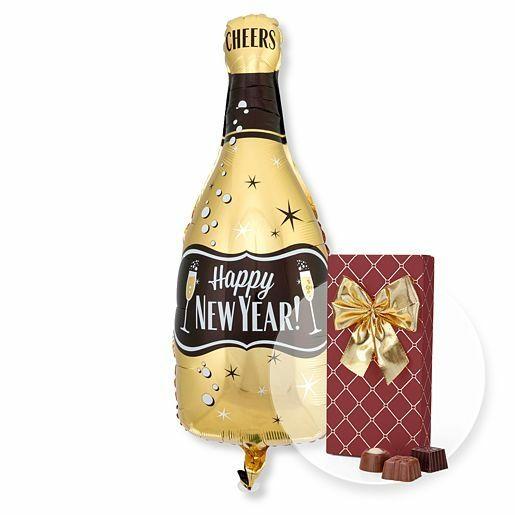 Ballon Happy New Year Bottle und Belgische Pralinen-Auslese