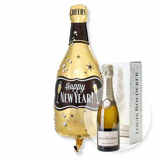 Ballon Happy New Year Bottle und Champagner Louis Roederer Brut Premier