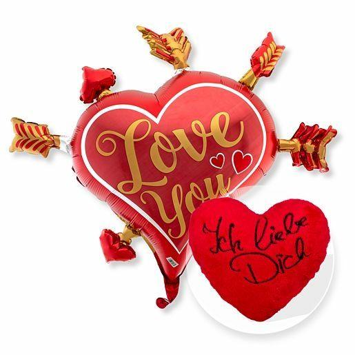 Riesenballon Mitten ins Herz und Kuschel-Herz Ich liebe Dich