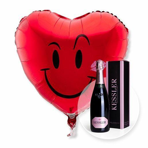 Ballon Kuss-Smiley und Kessler Rose Sekt