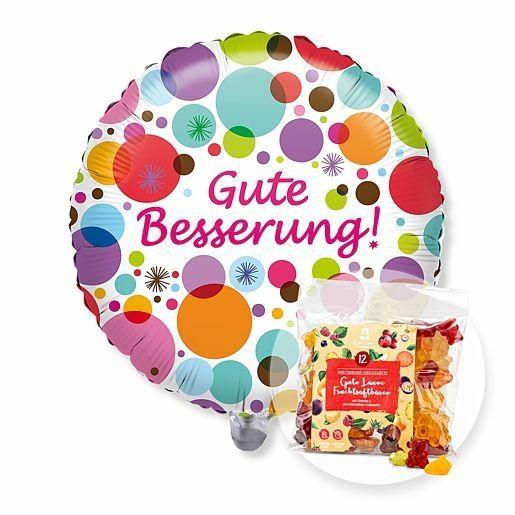 Ballon Gute Besserung! und Gute-Laune-Fruchtsaftbärchen