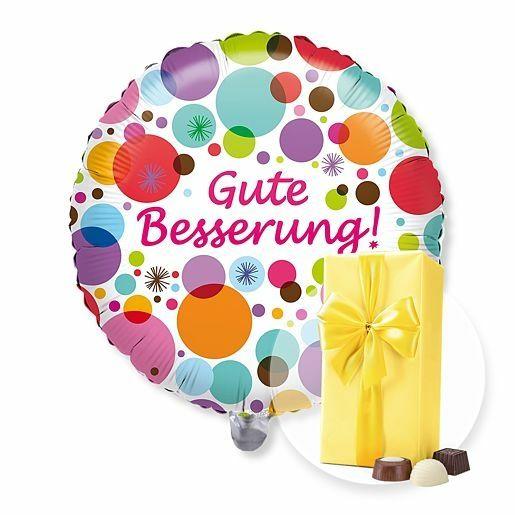 Ballon Gute Besserung! und Belgische Pralinen