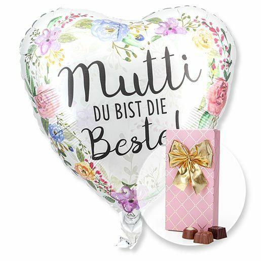 Ballon Mutti du bist die Beste! und Belgische Pralinen-Auslese