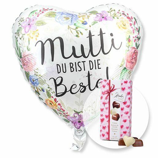 Ballon Mutti du bist die Beste! und Herz-Pralinen-Trio