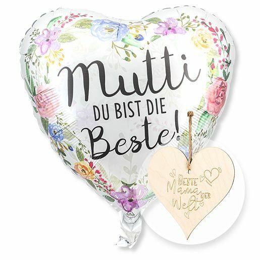 Ballon Mutti du bist die Beste! und Vintage-Herz Beste Mama der Welt!