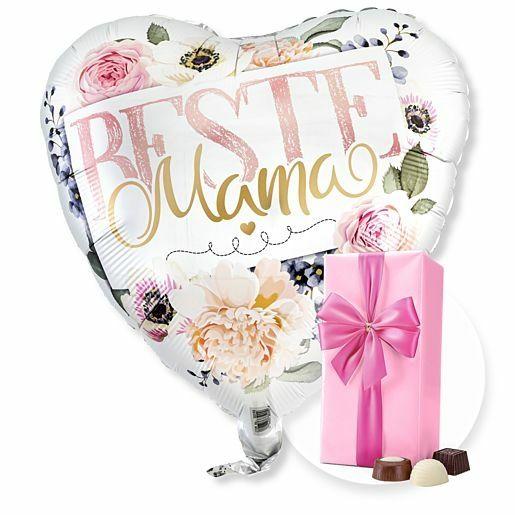 Ballon Beste Mama Rosen und Belgische Pralinen