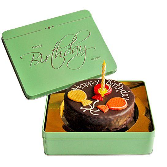 Dessert-Sachertorte Happy Birthday mit Kerze