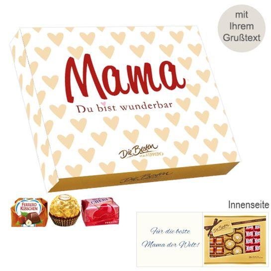 Persönliche Grußkarte mit Ferrero Die Besten: Mama - Du bist wunderbar (269g)