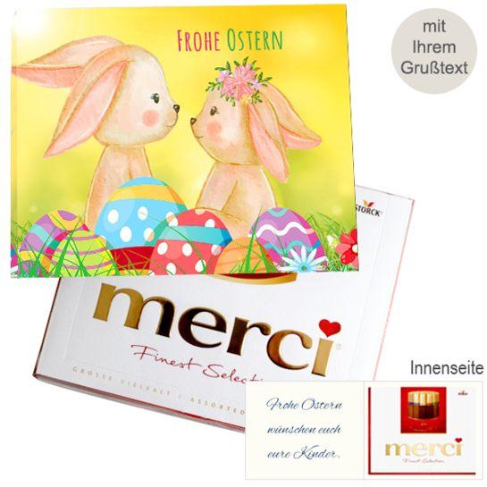 Persönliche Grußkarte mit Merci: Frohe Ostern (250g)